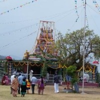 A Badaga temple with a Irula priest at Siriyur (Sigoor)